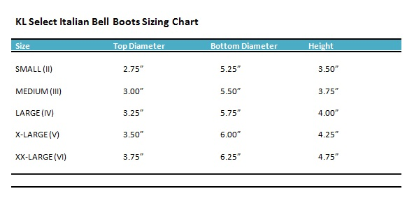 Bell Boot Size Chart